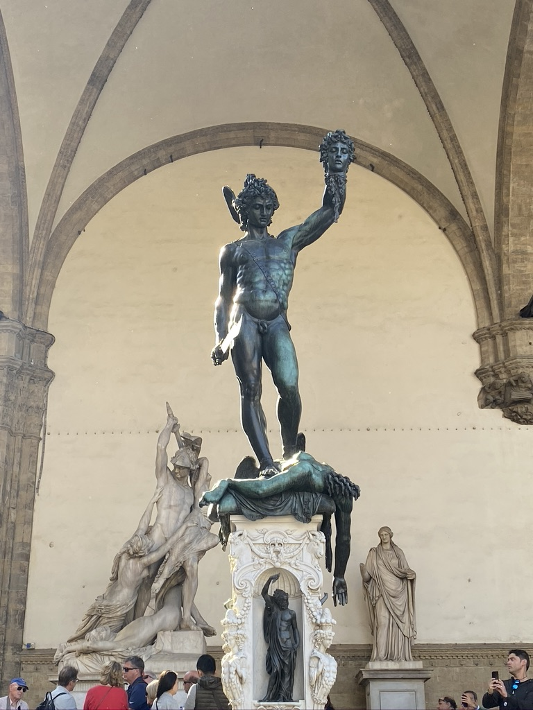 Florence Statue Perseus with the head of Medusa .Plazza della Signoria