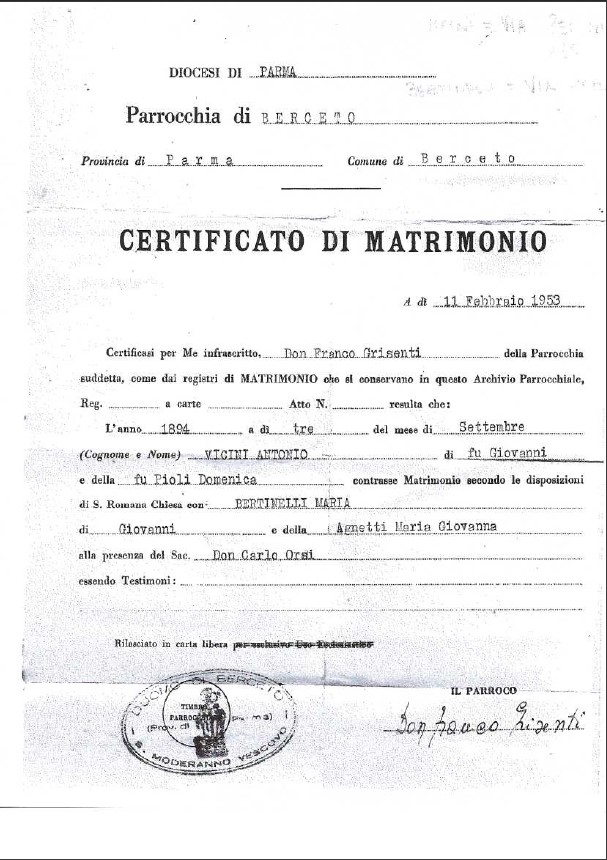 Original Marriage License Vicini-Bertinelli, Bercetto
